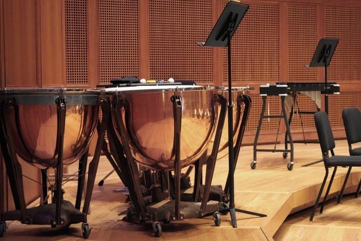 A set of timpani on stage