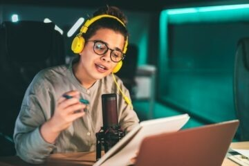 Woman recording an audio podcast
