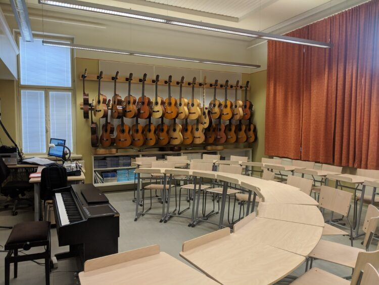 guitars hanging on wall in music classroom